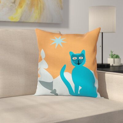 Cartoon Cat with Raccoon Mask Square Pillow Cover Size: 24 x 24