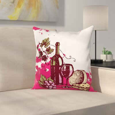 Wine Vintage Abstract Sketch Square Pillow Cover Size: 24 x 24