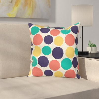 Watercolor Polka Dots Square Pillow Cover Size: 18 x 18