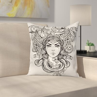 Fabric Sketch Tribal Mythical Square Pillow Cover Size: 24 x 24