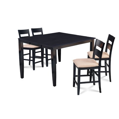 Almodovar 5 Piece Counter Height Extendable Dining Set Table Top Color: Black