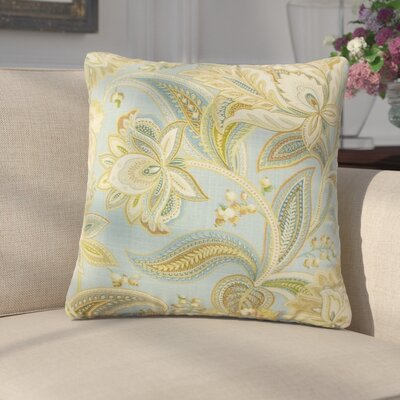 Franz Floral Linen Throw Pillow Color: Blue