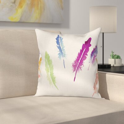 Fabric Case Watercolor Art Feather Square Pillow Cover Size: 20 x 20