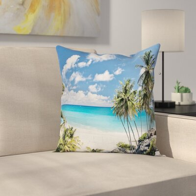 Barbados Beach Ocean Square Pillow Cover Size: 18 x 18