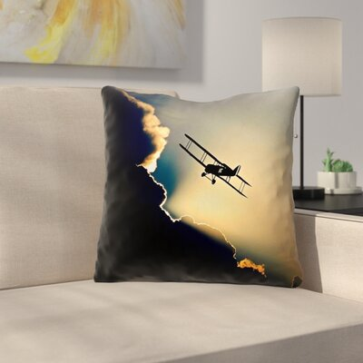 Plane in the Clouds Throw Pillow Size: 14 x 14