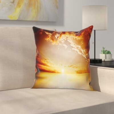 Sun Tranquil Sunset Horizon Square Pillow Cover Size: 24 x 24