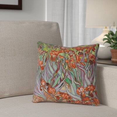 Morley Irises Throw Pillow Color: Orange, Size: 18 H x 18 W