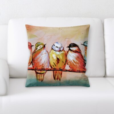 Veazey Flocked Together Birds Throw Pillow