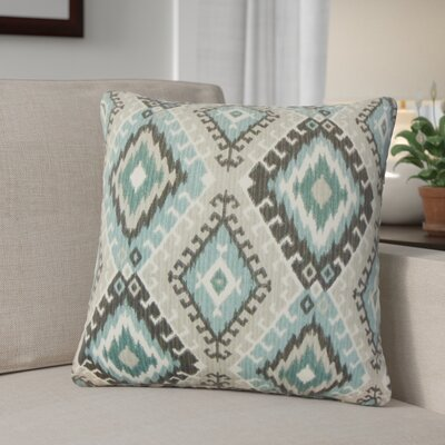 Karolyne Ikat Cotton Throw Pillow Color: Turquoise