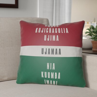 Indoor/Outdoor Throw Pillow Size: 18 H x 18 W x 4 D, Color: Red/White/Green/Black
