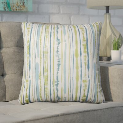 Wooten Striped Cotton Throw Pillow Color: Aqua/Green