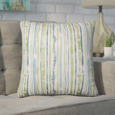 Wooten Striped Cotton Throw Pillow Color: Aqua/Green