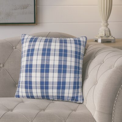 Schwaller Plaid Cotton Throw Pillow Color: Navy