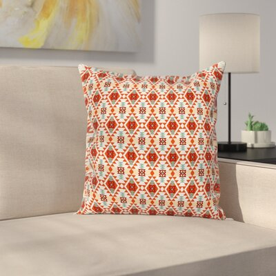 Tribal Aztec Folk Native Motif Square Pillow Cover Size: 24 x 24