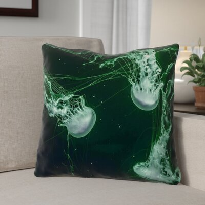 Carmina Smith Jellyfish Linen Throw Pillow Size: 14 x 14
