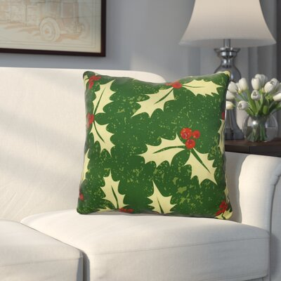 Decorative Holiday Floral Print Outdoor Throw Pillow Size: 16 H x 16 W, Color: Green