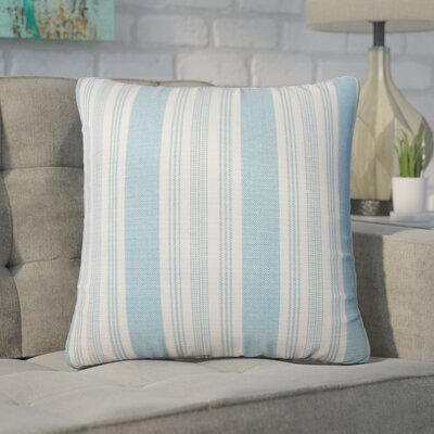 Wallin Striped Cotton Throw Pillow Color: Chambray