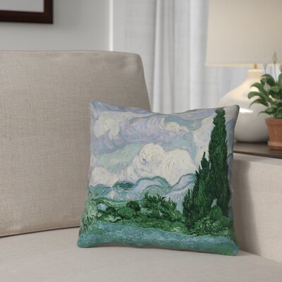 Meredosia Wheat Field with Cypresses Faux Linen Pillow Cover Color: Green/Blue, Size: 14 H x 14 W