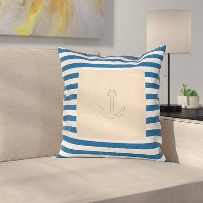 Stripe Maritime Anchor Square Cushion Pillow Cover Size: 16 x 16