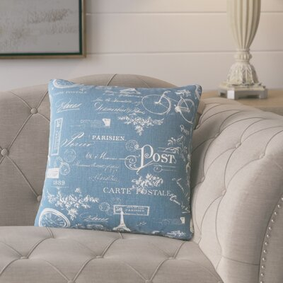 Banat Typography Cotton Throw Pillow Color: Navy