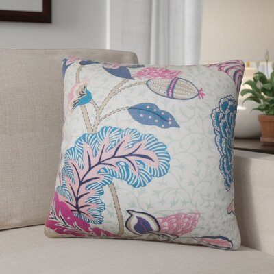 Tiara Floral Cotton Throw Pillow Color: Pink
