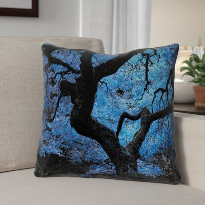 Ghost Train Japanese Maple Tree Faux Leather Throw Pillow Size: 16 H x 16 W