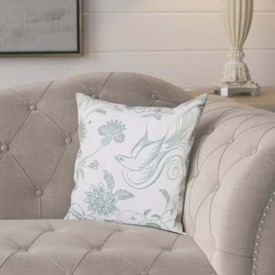 Cecilia Traditional Bird Throw Pillow Size: 16 H x 16 W, Color: Green