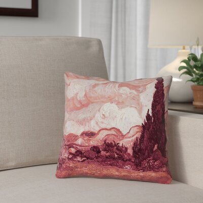Lapine Wheatfield with Cypresses Indoor Throw Pillow Color: Red, Size: 14 x 14