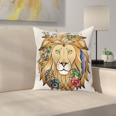 Animal Print Lion with Flower Square Pillow Cover Size: 16 x 16