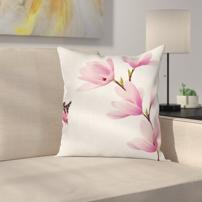Blossom Branch Flowers Square Pillow Cover Size: 16 x 16