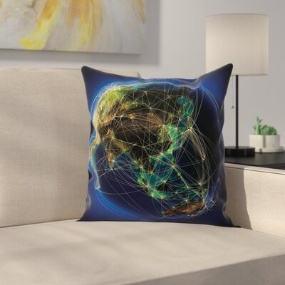 Earth Lines Navigation Square Pillow Cover Size: 18 x 18