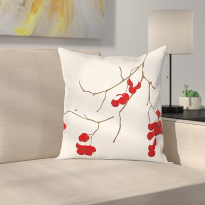 Artistic Plant with Snow Square Pillow Cover Size: 24 x 24
