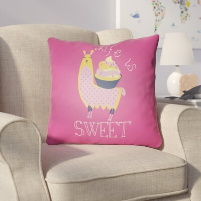 Colinda Life Is Sweet Throw Pillow Size: 18 H x 18 W x 4 D, Color: Magenta