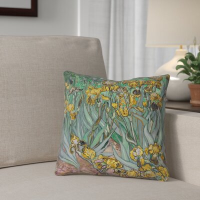Bristol Woods Irises Throw Pillow Color: Yellow, Size: 14 x 14