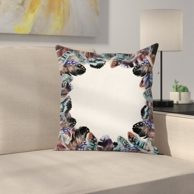 Fabric Case Boho Feathers Circle Square Pillow Cover Size: 24 x 24