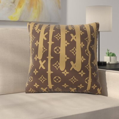 LX Drip Throw Pillow Size: 18 H x 18 W x 6 D, Color: Brown