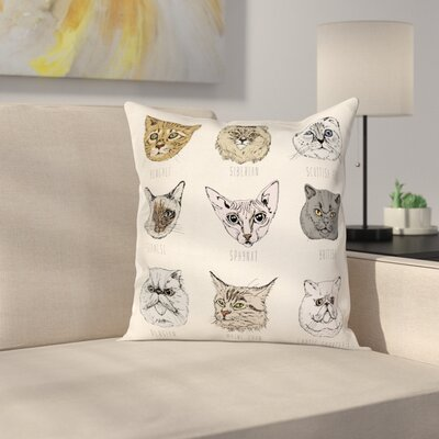 Set of Cute Cat Portraits Square Cushion Pillow Cover Size: 16 x 16