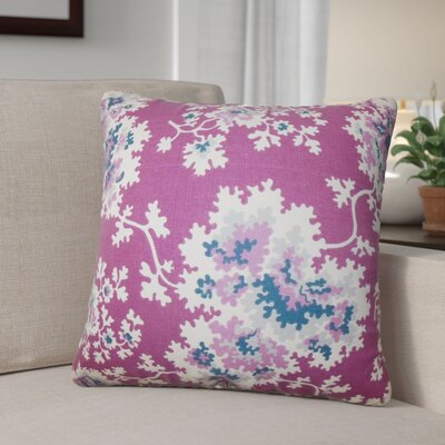 Murley Floral Cotton Throw Pillow Color: Purple