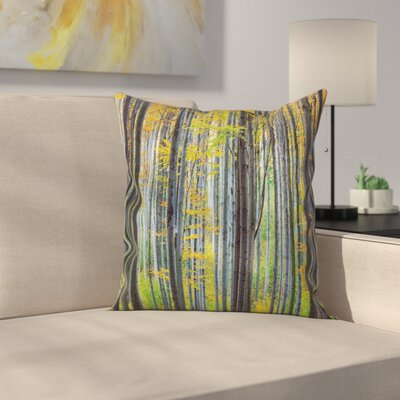 Fall Decor Autumn Beech Forest Square Pillow Cover Size: 16 x 16