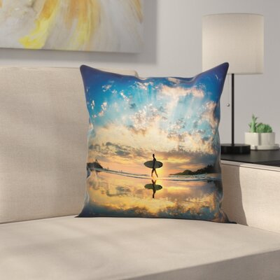 Surfer on Coast Square Cushion Pillow Cover Size: 24 x 24