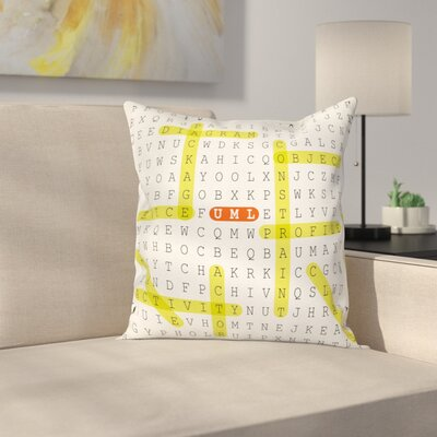 Puzzle UML Keywords Square Cushion Pillow Cover Size: 24 x 24
