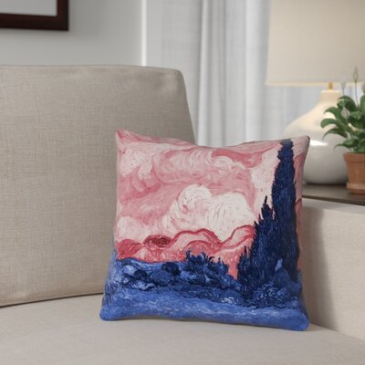 Bristol Woods Square 100% Cotton Pillow Cover Color: Red/Blue, Size: 14 x 14