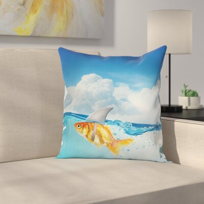 Goldfish with Shark Fin Square Pillow Cover Size: 18 x 18