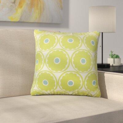 Stutler Floral Cotton Throw Pillow Color: Green