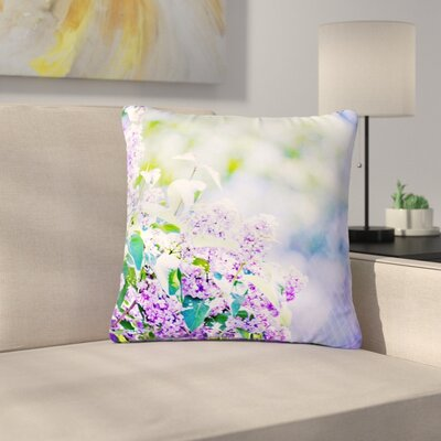 Sylvia Coomes Hazy Flowers Lavender Nature Outdoor Throw Pillow Size: 16 H x 16 W x 5 D
