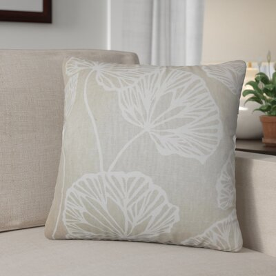 Conti Floral Cotton Throw Pillow Color: Tan