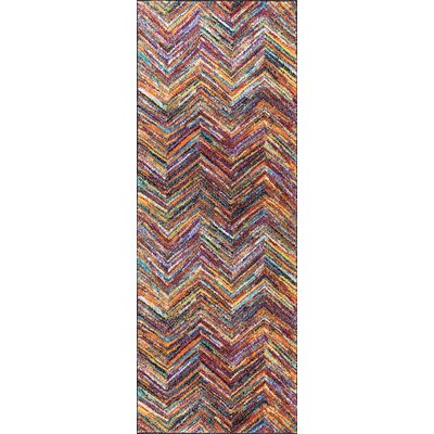 Elysee Contemporary Purple/Orange Area Rug Rug Size: Runner 3 x 8