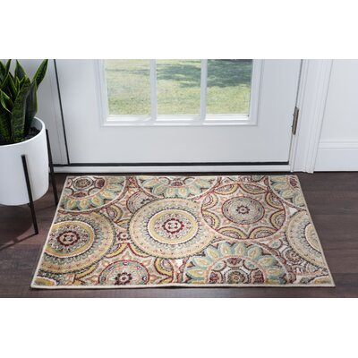 Sherlene Beige/Green Area Rug Rug Size: Rectangle 2 x 3