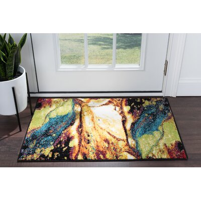 Weisman Yellow/Blue Area Rug Rug Size: Rectangle 2 x 3