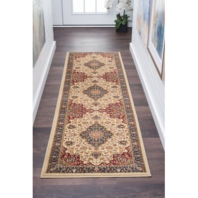 Clarence Machine Woven Polypropylene Beige Area Rug Rug Size: Rectangle 2 x 10